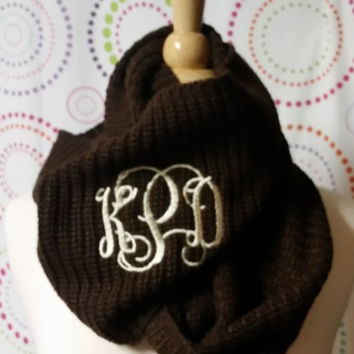 Monogrammed Cowl Neck Crochet Infinity Brown Gray