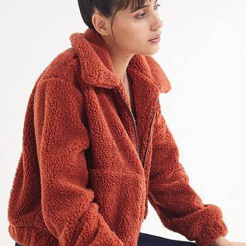 UO Cropped Teddy Jacket   Urban Outfitters