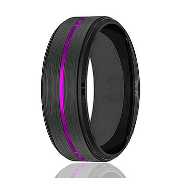 Men's Black Tungsten Wedding Band with Thin Purple Grooved Center 8mm