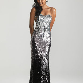 Silver & Black Ombre Sequin Strapless Prom Dress - Unique Vintage - Cocktail, Pinup, Holiday & Prom Dresses.