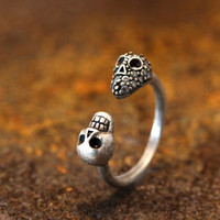 Double Skull Head Knuckle Ring Women's Teen's Retro Silver tone Adjustable Ring Jewelry Crystal Wrap Ring gift idea 3.5~6.0US size