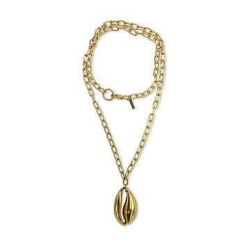 Gold Bel Mare Cowrie Seashell Pendant Charm Chain Necklace