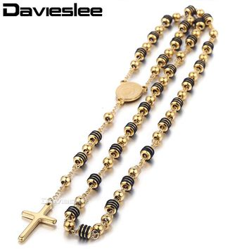 Davieslee Mens Womens Chain Bead Rosary Cross Pendant Necklace Stainless Steel Gold Black SilverTone Jesus Christ 6/8mm LKN434