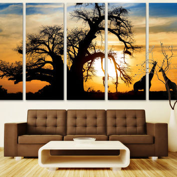 Africa Wall Art Animal Art Canvas Print / African Sunset Print Wall Art Hanging / Kitchen Art Print African Decor Fine Art Canvas Print