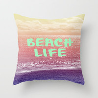 Beach Life Throw Pillow by Ally Coxon | iphone case|skins|cards and more at Society6