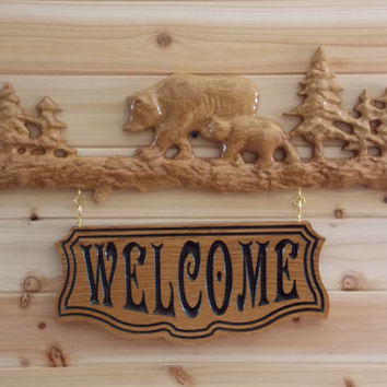 Carved Wooden Welcome Sign - Woodland Nature - Bears on Log - Rustic Home Decor - Woodland Home Decor - Rustic Welcome Sign - Wood Sign.