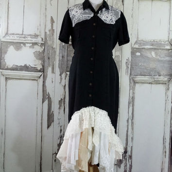 Black Western Style Upcycled Dress Downton Abbey Style Vintage Lace Western Wedding Eco Fashion Plus Size