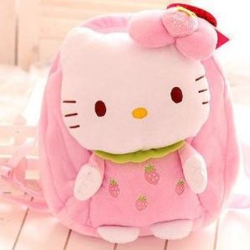 Super cute soft plush cartoon anime kawaii hello kitty fruit school backpack, creative birthday and graduation gift for girls