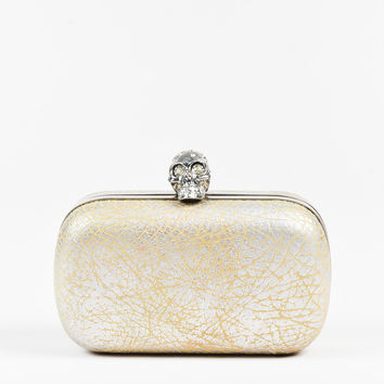 Alexander McQueen Silver & Beige Leather Crystal Skull Box Clutch,top wallet on sale for formal