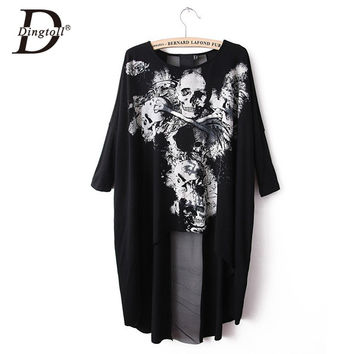 Dingtoll Women Vintage Dovetail Rock Style Dress Skull Printed Loose Europe Vestidos