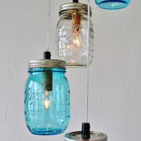 Special Listing for Nicole Foy - Second Payment For a Sea Spray Mason Jar Chandelier - Direct Hardwire - Upcycled BootsNGus Lighting Fixture
