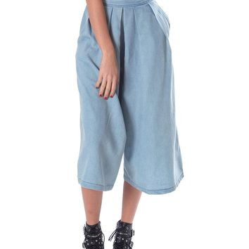 Get Lucky Chambray Culottes - Denim Blue