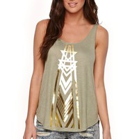 Billabong Golden Feet Tank - Womens Tee - Green -