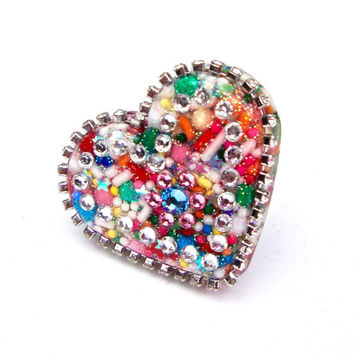 Large Candy Heart Ring, Huge Sprinkles Heart Ring, Over Sized Resin Heart Ring, Cupcake Sprinkles Ring, Candy Statement Ring