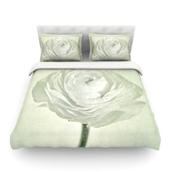 """Iris Lehnhardt """"Whity"""" Gray Floral Featherweight Duvet Cover - Outlet Item"""