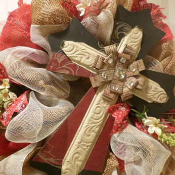 Burlap, and Cream Deco Mesh Cross Wreath