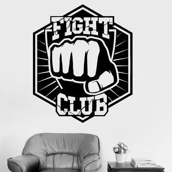 Vinyl Wall Decal Fight Club Martial Arts Fist Fighting Sports Stickers Unique Gift (ig3502)