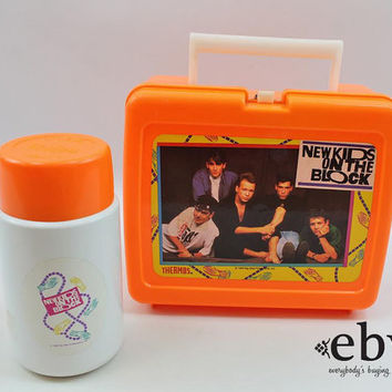 Vintage 90s New Kids on the Block Lunchbox + Thermos NKOTB Lunchbox NKOTB Thermos 90s Boy Bands Jordan Knight Joey McIntyre Donnie Wahlberg
