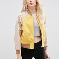 ASOS | ASOS Bomber Jacket in cropped Length with Metallic Trim at ASOS