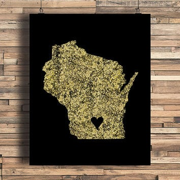 Wisconsin With Heart Faux Gold Foil Art Print, Minimalist Art, Home, Office, Bathroom, Dorm, Work Decor, Nursery Art, Housewarming Gift