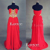 Custom Made Chiffon Strapless Long Red Prom Dresses, Red Dress For Prom, Evening Dresses, Formal Dresses