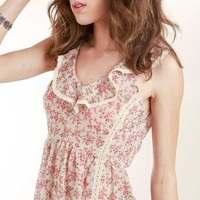 Pink Floral Print Open Back Prairie Top