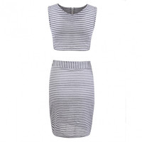 New Women Fashion O-Neck Sexy Sleeveless Striped High Waist Two Piece Dress Set