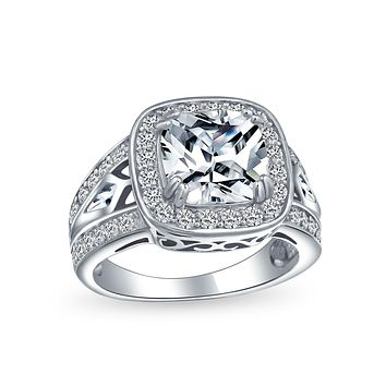 Art Deco 4CT Square Cushion Cut Solitaire Pave Halo CZ Engagement Ring