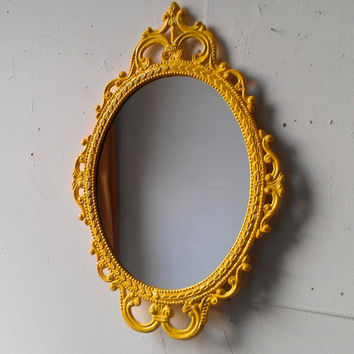 Framed Oval Mirror in Vintage Metal Frame, 17 by 12 inch Handpainted Brass in Bright Yellow, Small Bathroom Mirror