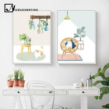 Scandinavian Cat Watercolor Plant Canvas Poster Abstract Landscape Nordic Style Wall Art Print Painting Decorative Picture