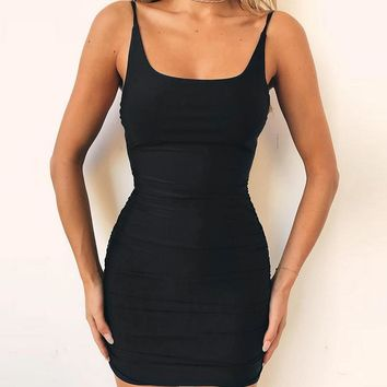Slim Hot Sale Summer Women's Fashion Round-neck Backless One Piece Dress [763524743284]
