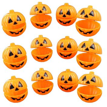 NICEXMAS 12pcs Plastic Pumpkin Shaped Storage Box Case Container Halloween Mini Gift Holder Props For Halloween Party Decoration