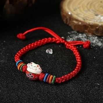 YANGQI Ceramic Beads Cat Charm Red Thread Bracelets Rope Chain Knitted Bracelet for Women Handmade Lucky Jewelry Gifts