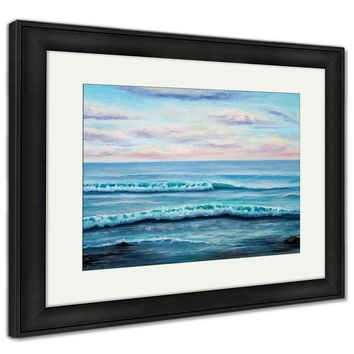 Framed Print, Original Oil Painting Showing Ocean Or Seashore Or Beach On Canvas Modern