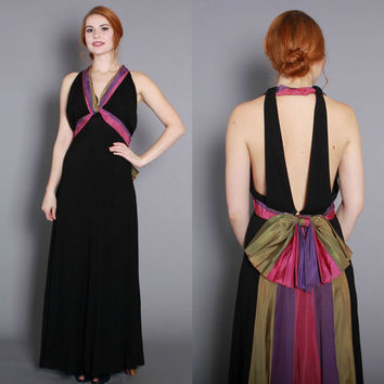 1930s Black Rayon Evening GOWN // Backless Vintage 30s DRESS with Green, Purple & Pink Stripes, xs