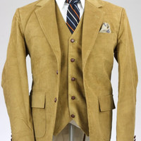 Cordifornia Handmade Slim Fit 3 Piece Suit Tan Monkey Suits 40 R