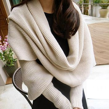 Women Scarf Poncho Women Scarves Womens 2019 Winter Fashion Women Knitted Long Sleeve Wrap Shawl Scarf Echarpe Femme Hiver