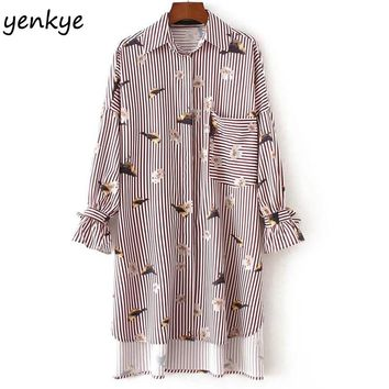 Autumn Women Bird Printed Blouse Shirt Lapel Long Sleeve Tunic Patch Pocket High Low Split Side Over sized Striped Blouses