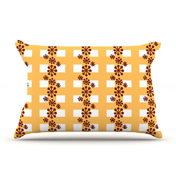 "Jane Smith ""Mushroom Repeat"" Brown Yellow Pillow Sham"