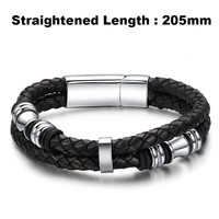2017 Fashion Brand Men Bracelet Stainless Steel Leather Wristband Vintage Bangles Rock Men Personalized Jewelry Pulseras