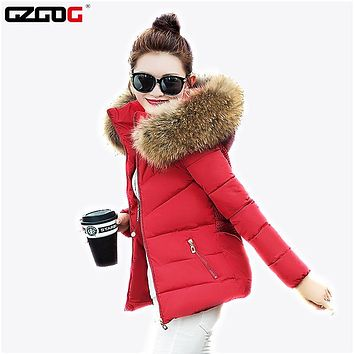 2017 Women Cotton Wadded Warm Jackets Coat Winter Slim Plus Size Faux Fur Collar Hooded Thick Parka Fashion Female Outerwear