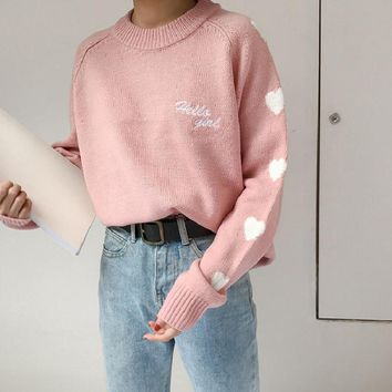 Harajuku Plus Size Casual Women Sweaters Autumn Fashion Kawaii Love Heart Embroidery Pullover Sweater Female Sweaters