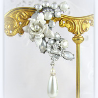 White Pearlized Rhinestone Bridal Ear Cuff with Rose Flower and  coordinated Pearl drop earring