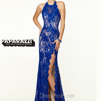 Open Back Lace With High Slit Paparazzi Prom Dress By Mori Lee 97101