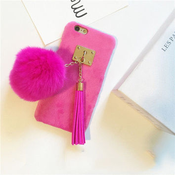 New Winter Hot Fuzzy Candy Color Phone Cover With Fur Ball Tassels Phone Case For iPhone 6/6s/7 For iphone6/6s/7 Plus
