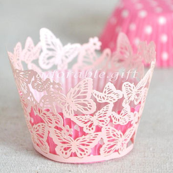 Cupcake Wrappers | Cupcake Liner Laser-cut | Decorations Wedding Party Baby Shower Birthday | Pink Pearly Butterfly Lace 12pcs