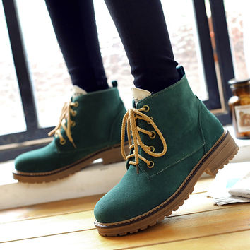 Big Size Ladies Imitation suede Round Toe ankle boots for women Winter boots Fashion lace up platform snow military boots