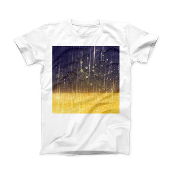 The Blue Stratched Streaks with Unfocused Gold Sparkles ink-Fuzed Front Spot Graphic Unisex Soft-Fitted Tee Shirt