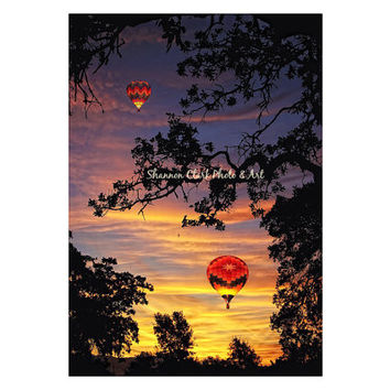 Hot Air Balloon Photography. Sunrise Sunset. Colorful Sky. Bright wall art. Orange yellow purple pink. Whimsical home decor. Summer. Balloon