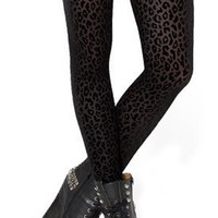 Black Burned Velvet Leopard Leggings Design 371